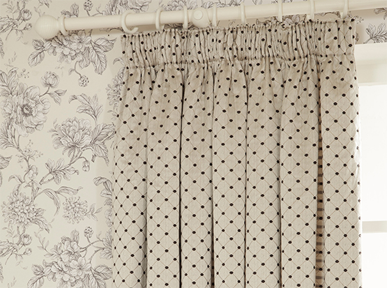 Aquitaine Charcoal Curtain Cameo