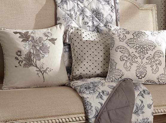 Aquitaine Charcoal Curtain Cushion Cameo